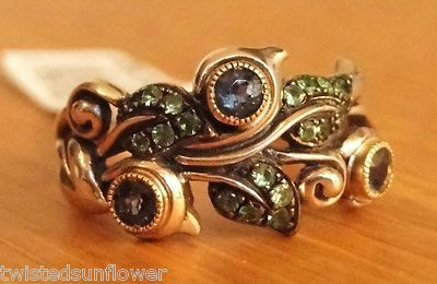 Barbara Bixby Sterling 18K Pave Gemstone Blue Topaz Vine Leaf Ring Size 8 | eBay