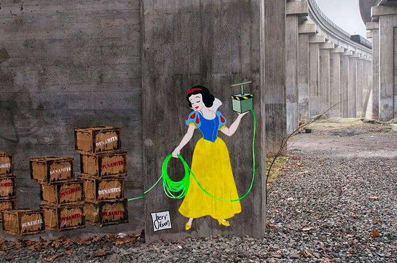 LAS PRINCESAS PELIGROSAS Una nueva propuesta de arte urbano se desata en Suecia a cargo de las manos de Herr Nilson. Este artista busca provocar emociones a partir de imágenes que tienen un significado predeterminado, modificando sus personalidades.