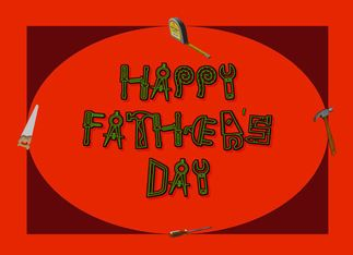Happy Father's Day Tools hammer saw screwdriver measuring tape Greeting Card