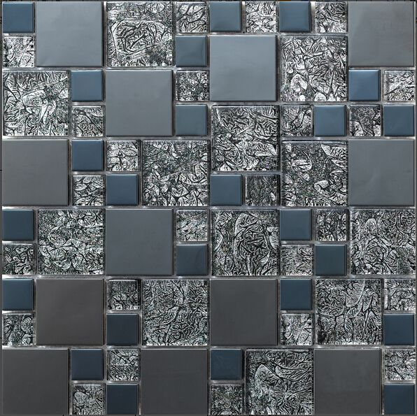 Decorative Wall Tiles Kitchen Backsplash Factory Direct Sale Stainless Steel Metal Mosaic Glass Tile