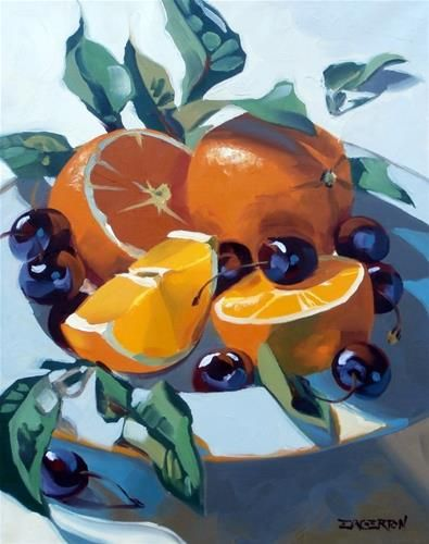 """Daily Paintworks - """"Orange, Cherries"""" by Leigh-Anne Eagerton"""