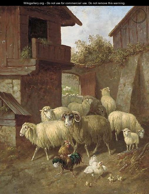 Sheep and poultry in a farmyard; and Sheep and poultry in a barn - Continental School
