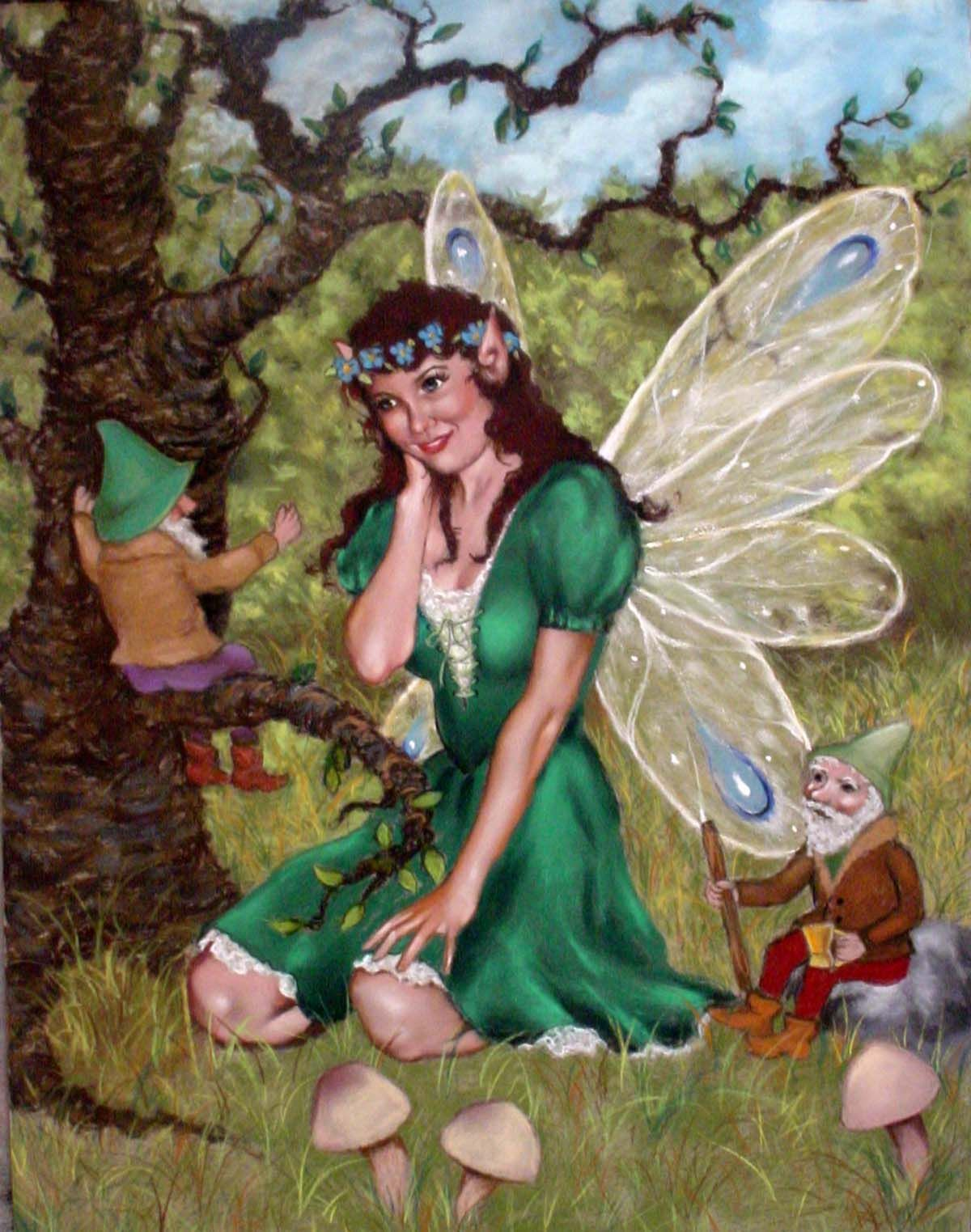 Irish Fairy With Gnomes Pastel Fairies