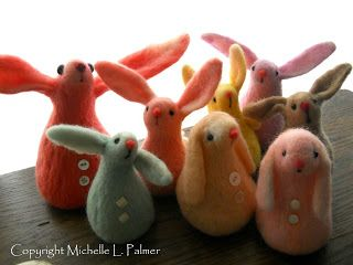 Michelle Palmer's needle felted bunnies