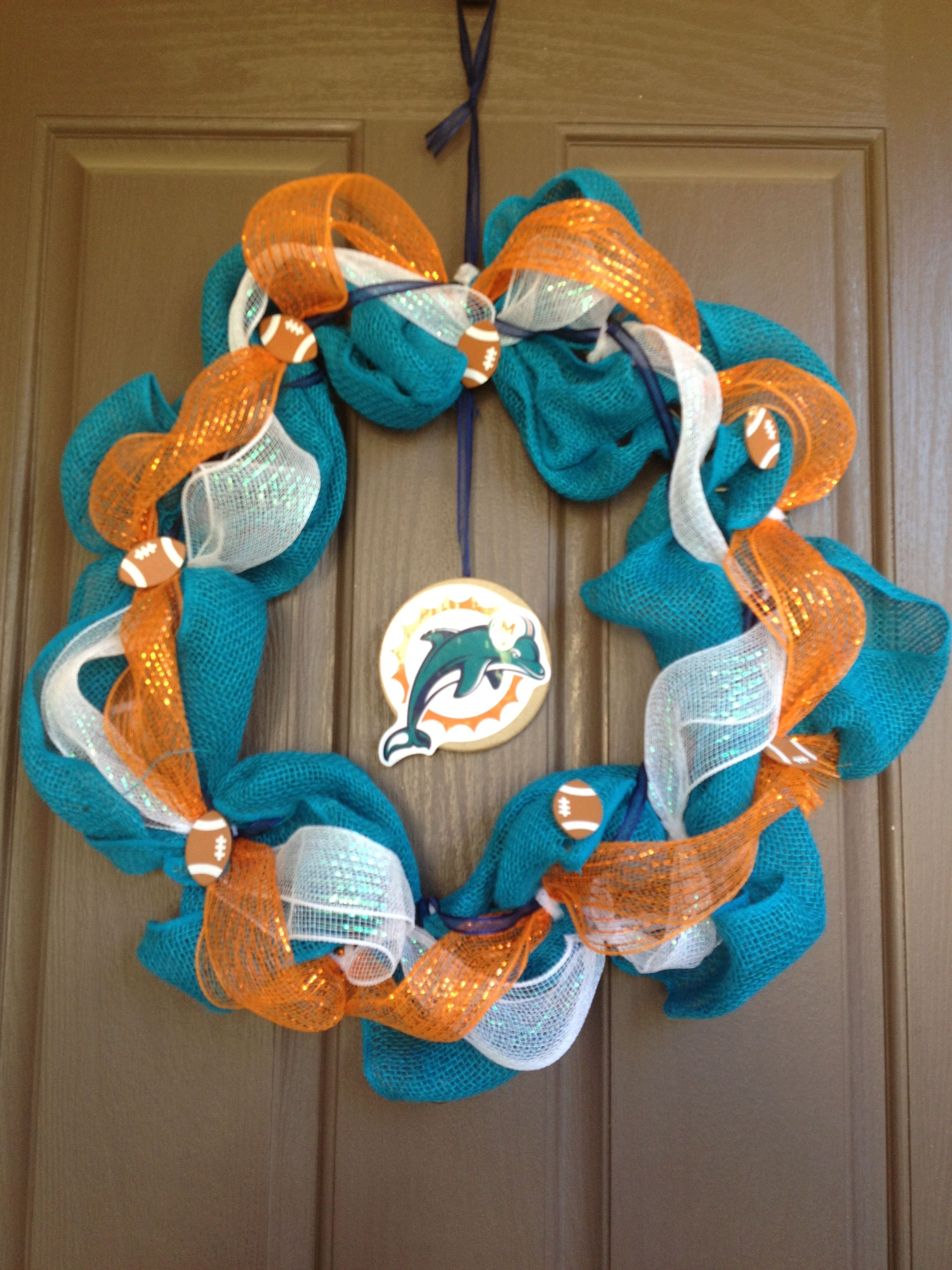 Miami dolphins mesh wreath need the new colors logo but