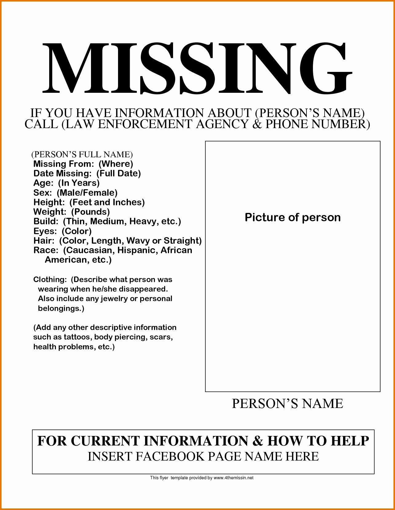 Missing Person Poster Template Best Of Funny Flyers Printable Lovely Missing Person Template Funny In 2020 Missing Posters Poster Template Person Template