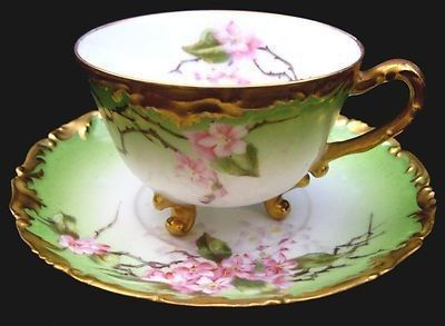 ANTIQUE T&V LIMOGES HAND PAINTED RARE FOOTED CUP & SAUCER CHERRY BLOSSOM 1907