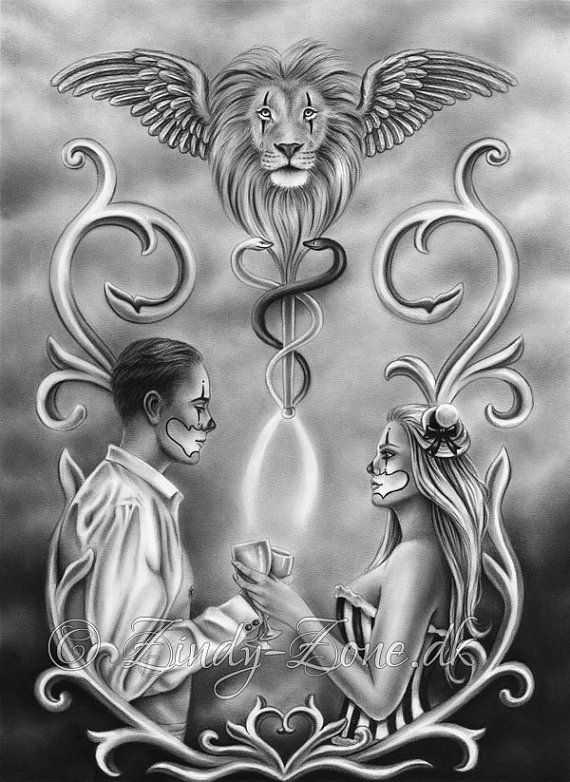 2 Of Cups Tarot Card Chicano Clown Love Valentine Lion Wings Fantasy