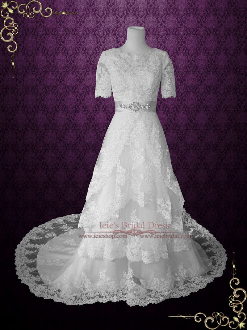Ready to ship modest wedding dress with sleeves vintage lace wedding