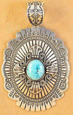 Darrell Cadman Handmade Sterling Silver Navajo Pendant Gem Blue Moon Turquoise | eBay