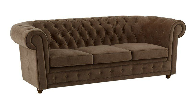 Canape Chesterfield Deluxe 3 Places Velours Taupe Capitonne Chesterfield Chair Chair Furniture