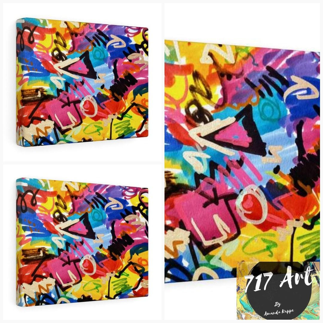 Colorful art canvas gallery wrap print prints on canvas graffiti art wall art