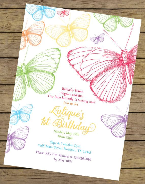 Rainbow Butterfly Birthday Invitation Butterfly Birthday Invite - Butterfly birthday invitation images