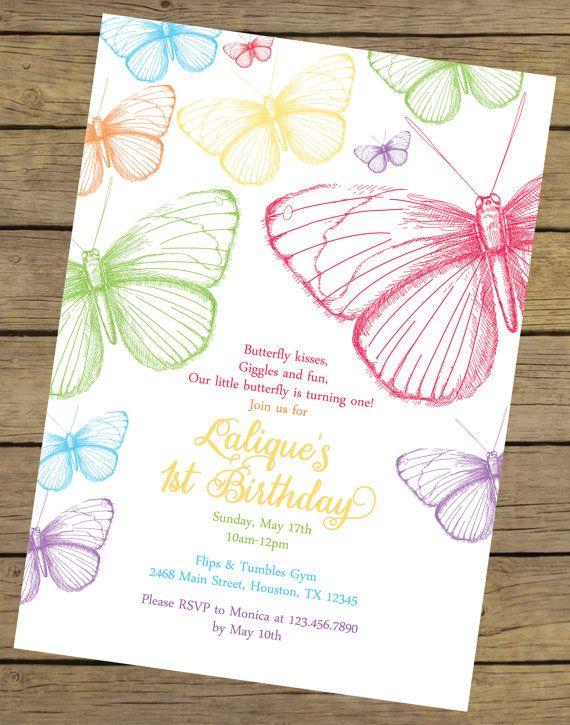 Rainbow Butterfly Birthday Invitation By CharlesAlexDesign