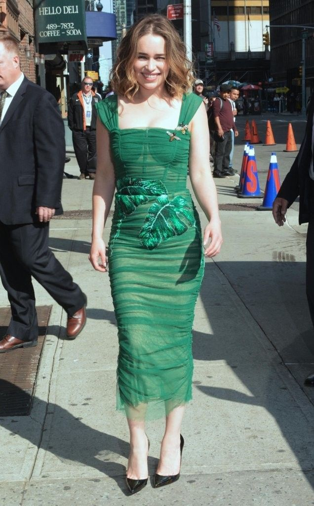 afb9d256 Emilia Clarke Corset Dress - Emilia Clarke looked downright fab in a green  leaf-print corset dress by Dolce & Gabbana as she arrived for her 'Stephen  ...
