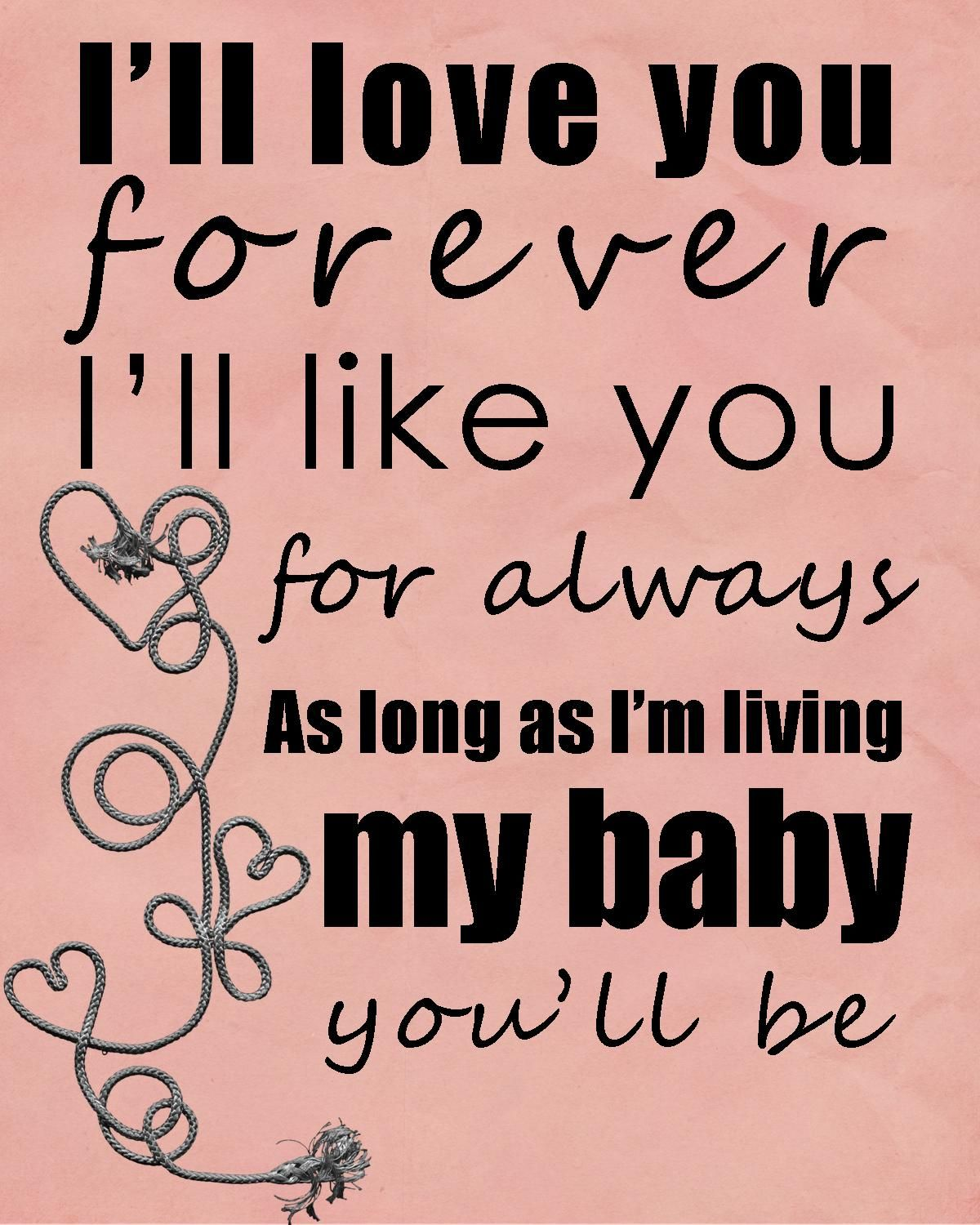 I Love You Forever Like You Always Baby Funny Health Quotes and Sayings
