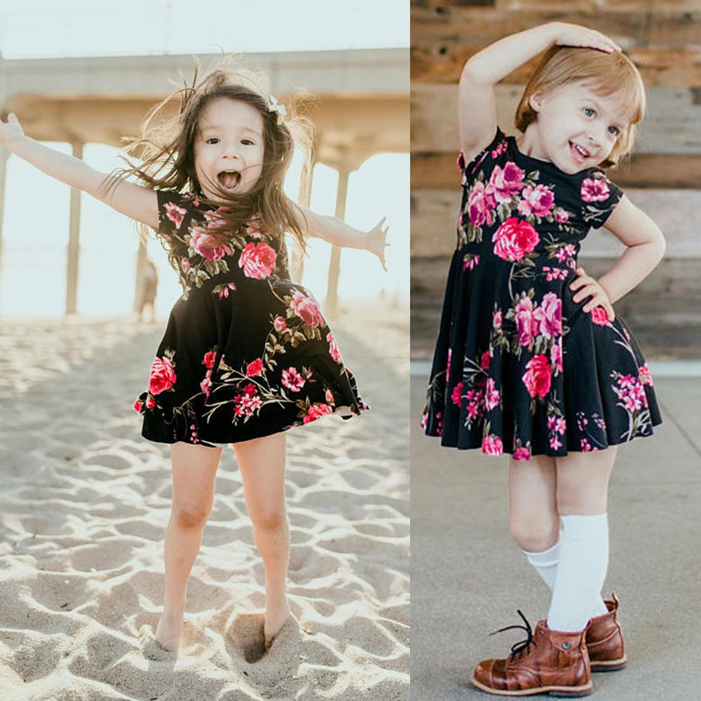 Baby Kids Girls Dress Toddler Princess Tutu Summer Floral Sundress Party Clothes
