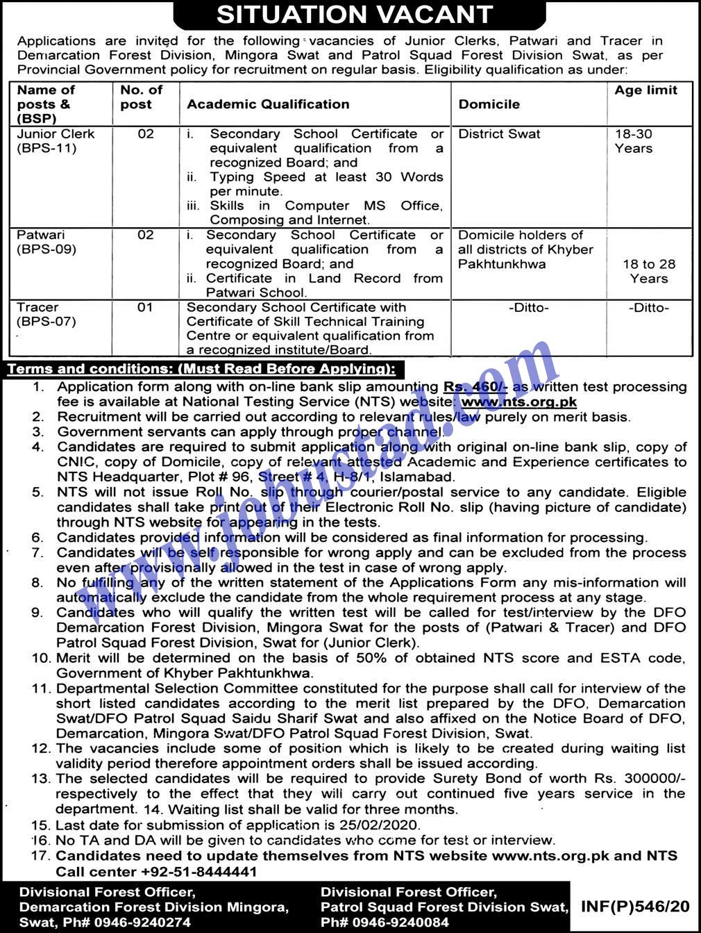Forest Division Jobs in Mansehra February 2020 via NTS in