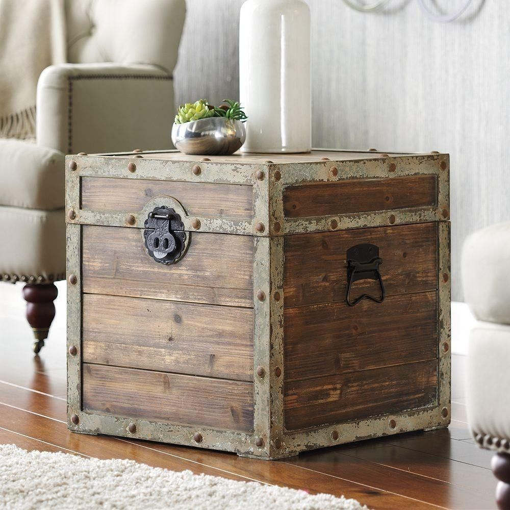 Antique Vintage Storage Trunk Rustic Brown Tan Box Side End Table Wooden  Chest