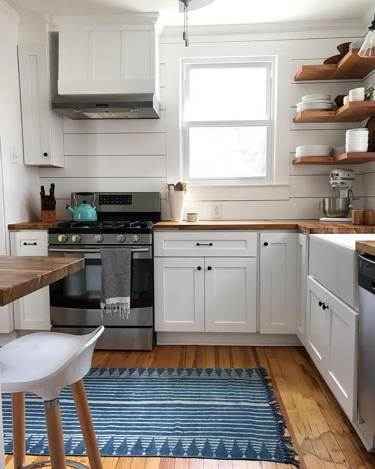 Light and airy modern farmhouse kitchen with butcher block countertops and shiplap backsplash | #butcherblock #shiplap #kitchendesign #farmh... - interiors / kitchen #farmhousekitchencountertops