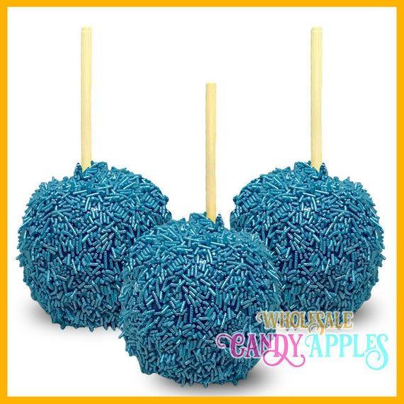 Shimmer Blue Sprinkle Mini Hard Candy Apples- 1 dozen
