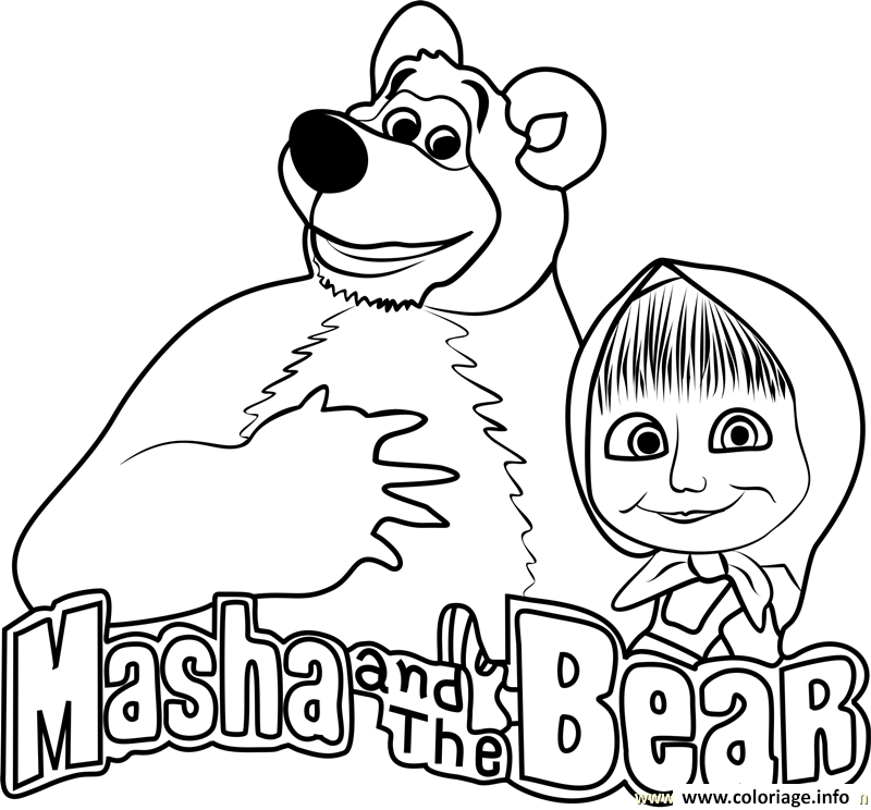 Coloriage Masha And The Bear Masha Et Michka Logo Dessin A