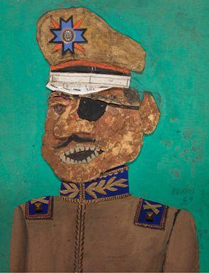 Antonio Berni, El coronel golpista, no. 2, 1964, oil, wood, paper, egg carton, cardboard, metal, string on plywood.
