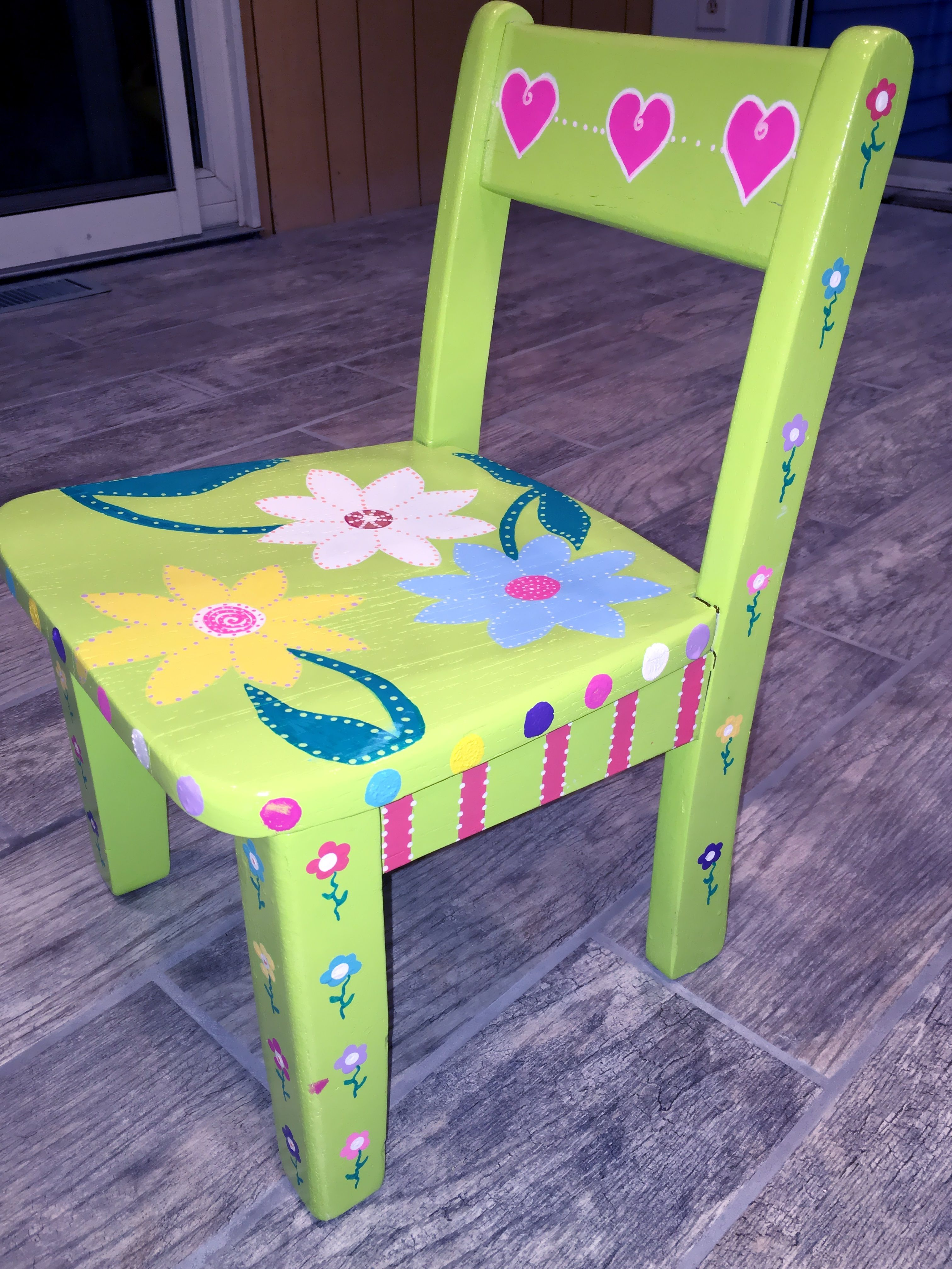 funky wooden chairs discontinued henredon dining whimsical bright hand painted furniture child