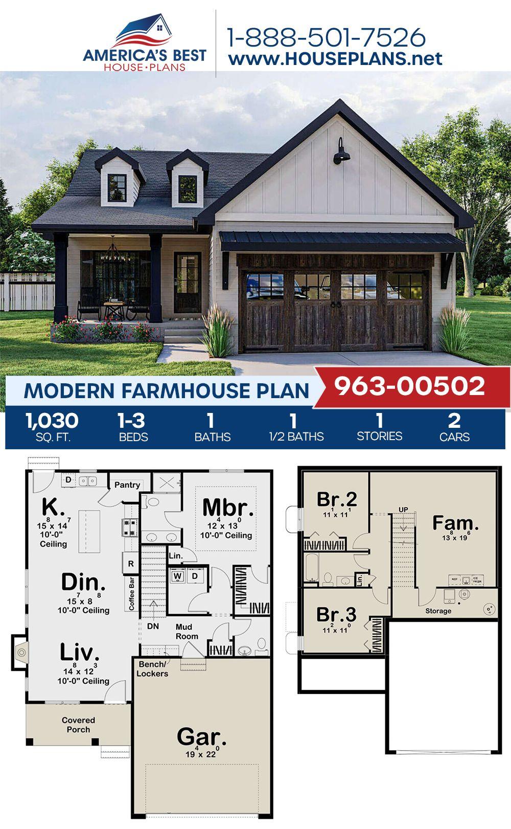 House Plan 963 00502 Modern Farmhouse Plan 1 030 Square Feet 1 3 Bedrooms 1 5 Bathrooms Modern Farmhouse Plans Farmhouse Plans House Plans