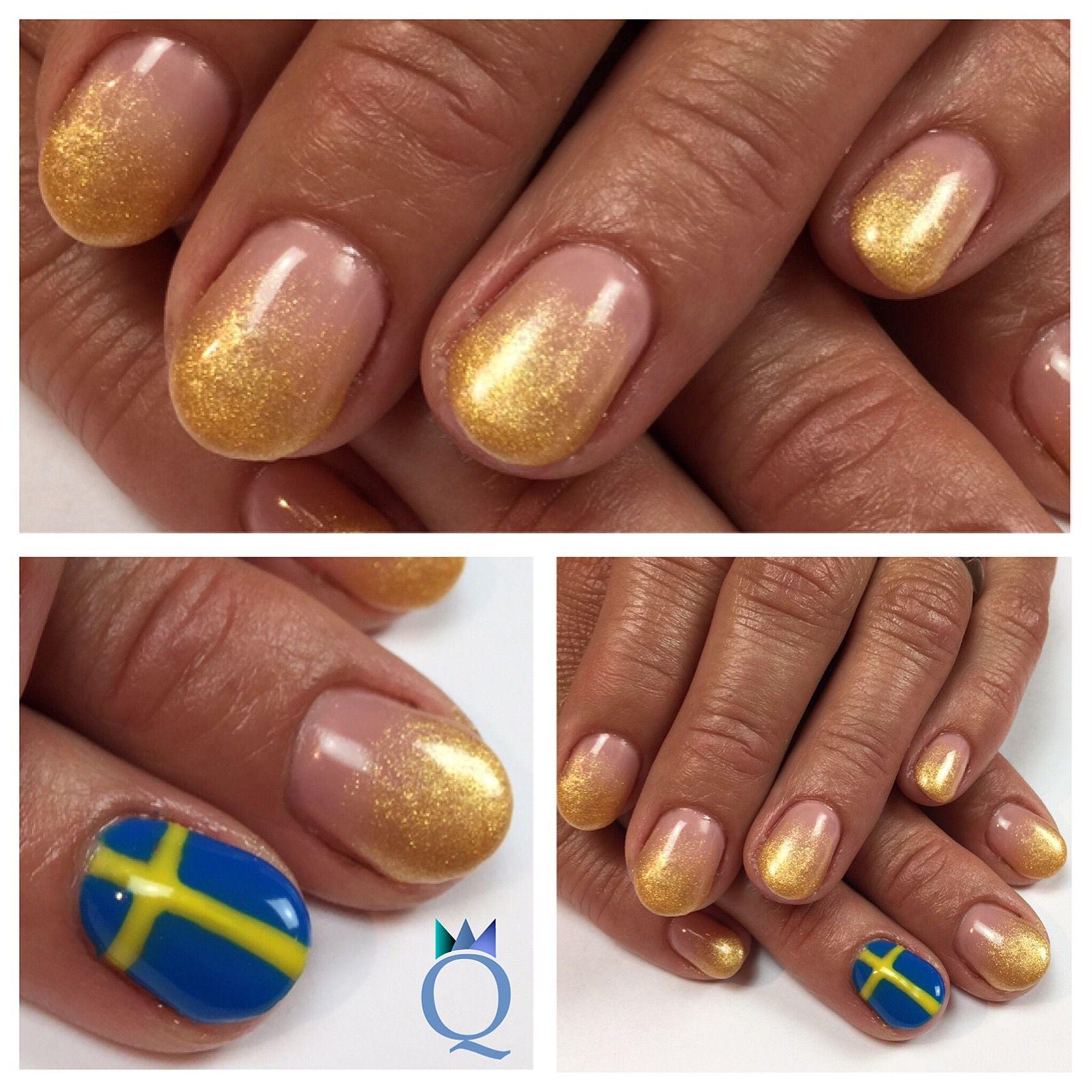 shortnails #gelnails #nails #gold #akyado #ombre #sweden #flag ...