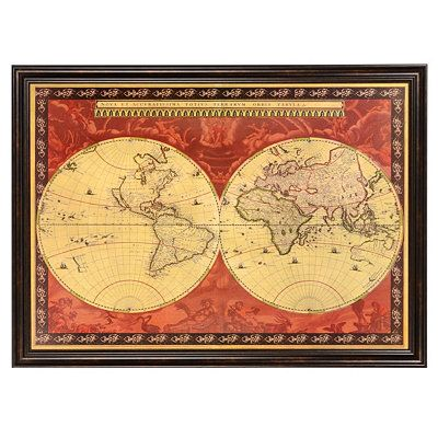 Red old world map framed art print map frame printing and living red old world map framed art print gumiabroncs Image collections