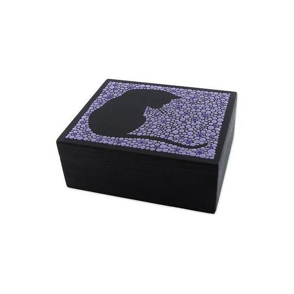 novica wood cat themed jewelry box in purple from brazil 50