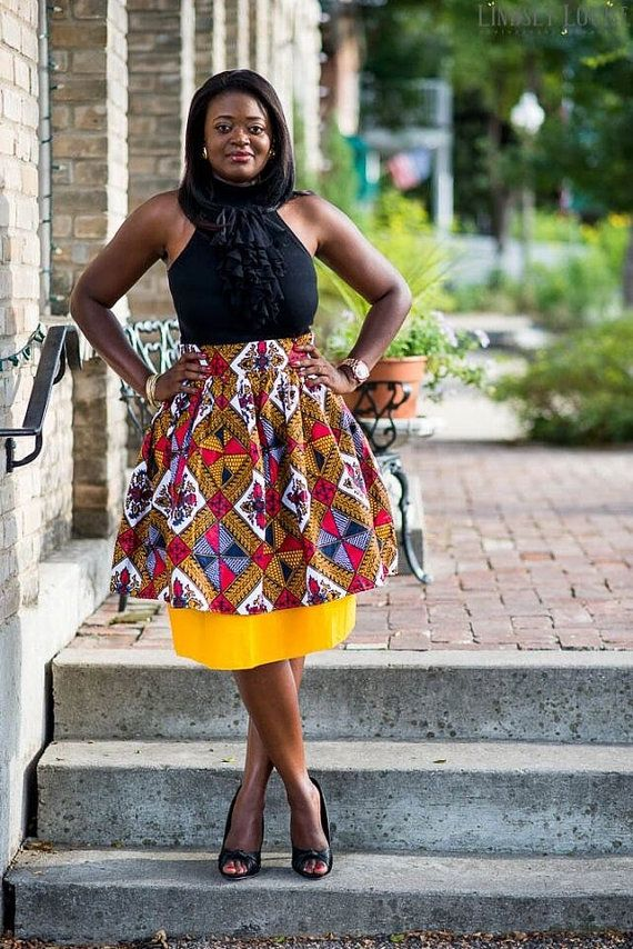Brown Fall Mini Skirt African Clothing by MsAlabaAfricanShop