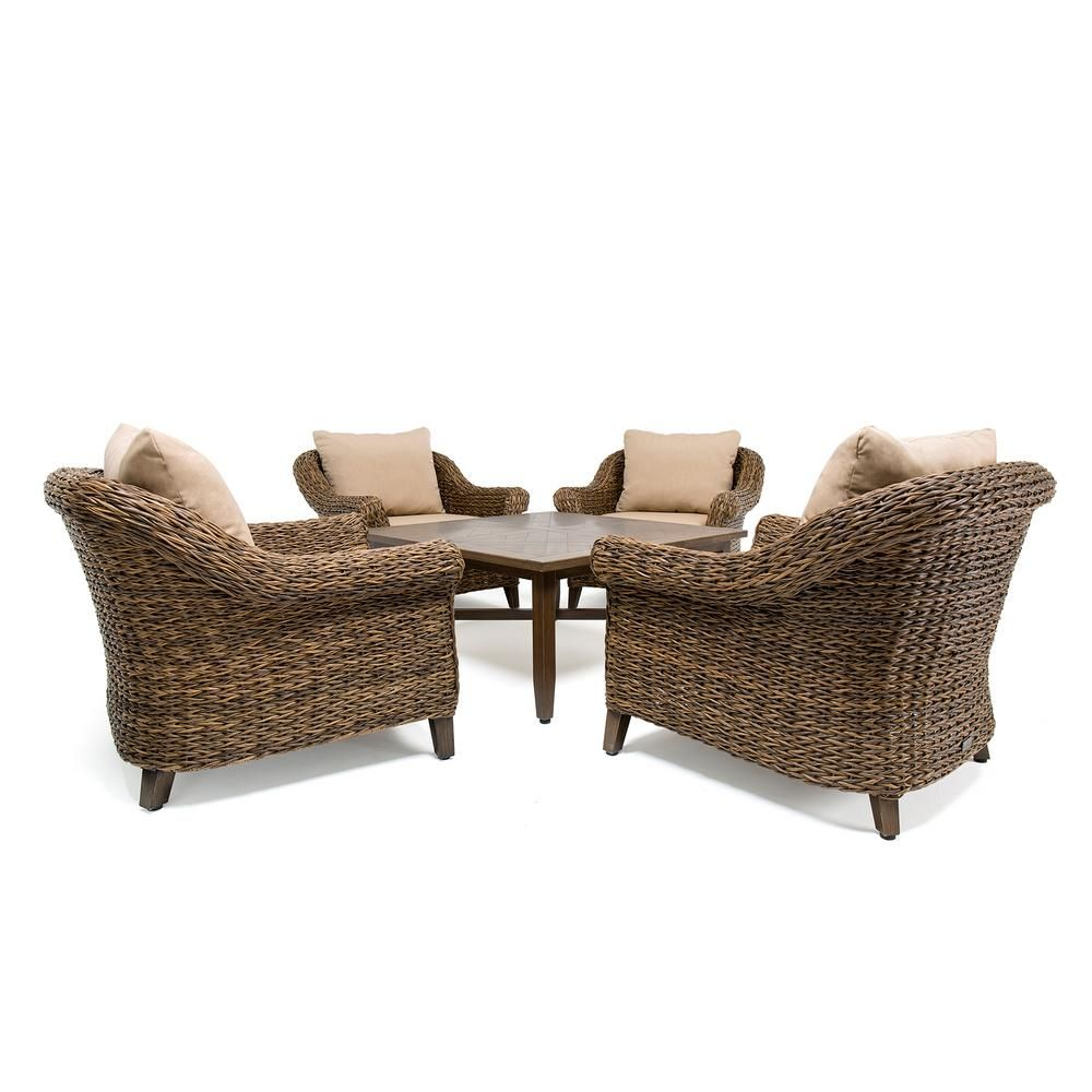8933c772be1 BLUE OAK Bahamas Wicker 5-Piece Outdoor Seating Set with Sunbrella Canvas  Heather Beige Cushion