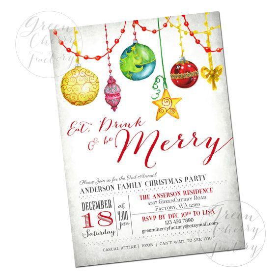 Watercolor Christmas Ornament Invitation  by GreenCherryFactory, $18.00