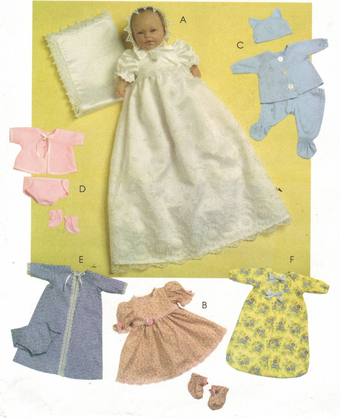 Baby Doll Christening Gown Blanket Dress Bonnet Robe Sew Pattern 11 16 Baby Doll Clothes Patterns Baby Doll Clothes Doll Clothes