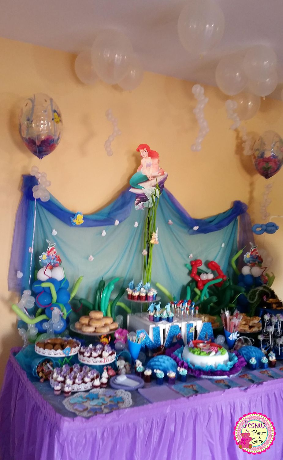 Mesa dulce ariel bajo el mar lesnuzparty under the sea for Fiesta tematica sirenas