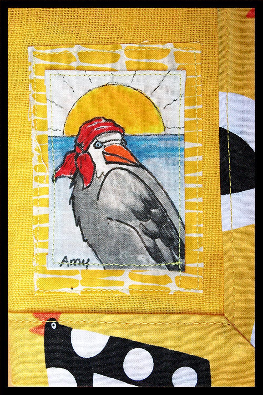 Amy Napkin Hand Made Painted Linen Cotton Pirate Bird Table Runner Gift Basket Bread Basket One Of A Kind Handmade Original Art Hand Painted Original Art Painting