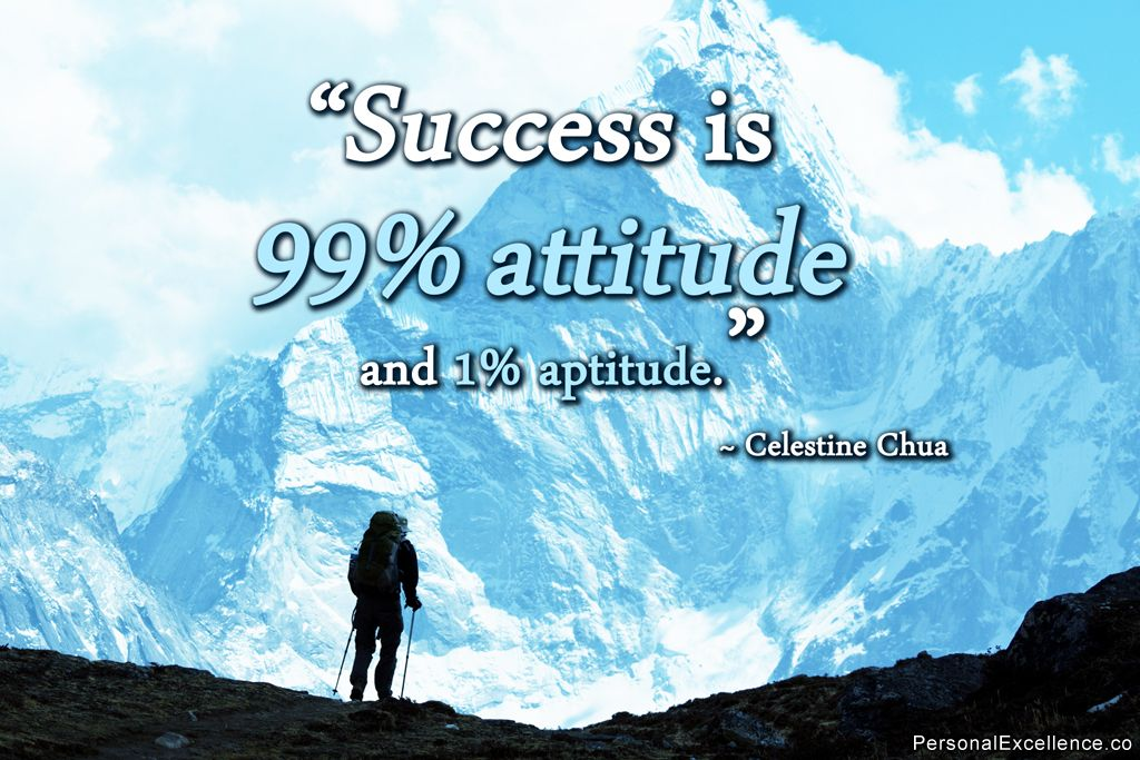 \u201cSuccess is 99% attitude and 1% aptitude.\u201d ~ Celestine