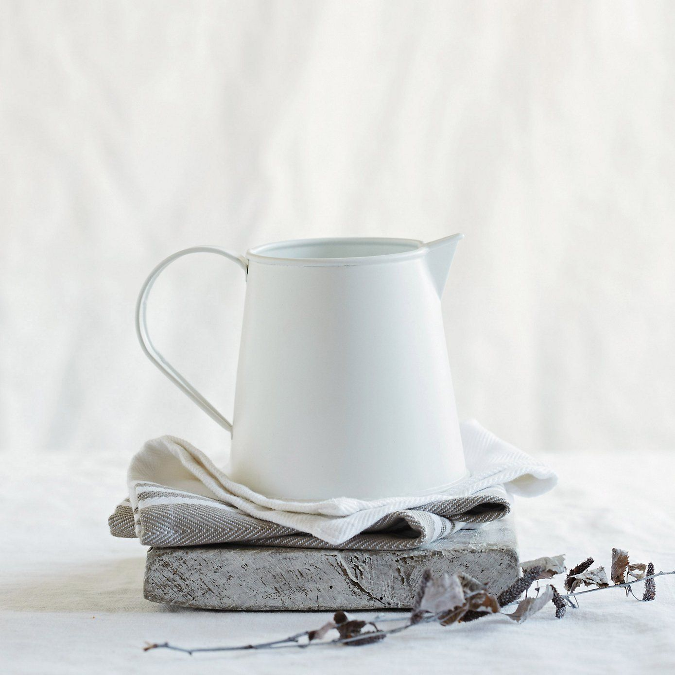 Matte Enamel Jug - Small | The White Company. Shopping from the US? -> http://us.thewhitecompany.com/Home-%26-Bath/Decorative-Accessories/Matte-Enamel-Jug---Small/p/ENHJS?swatch=White