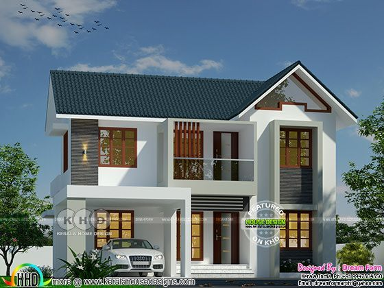 Sloping Roof Modern Home By Dream Form Kerala House Design Model House Plan House Designs Exterior