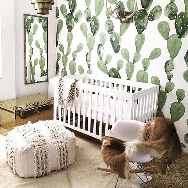 Cactus Wallpaper In A Nursery Could This Bohemian Gender Neutral