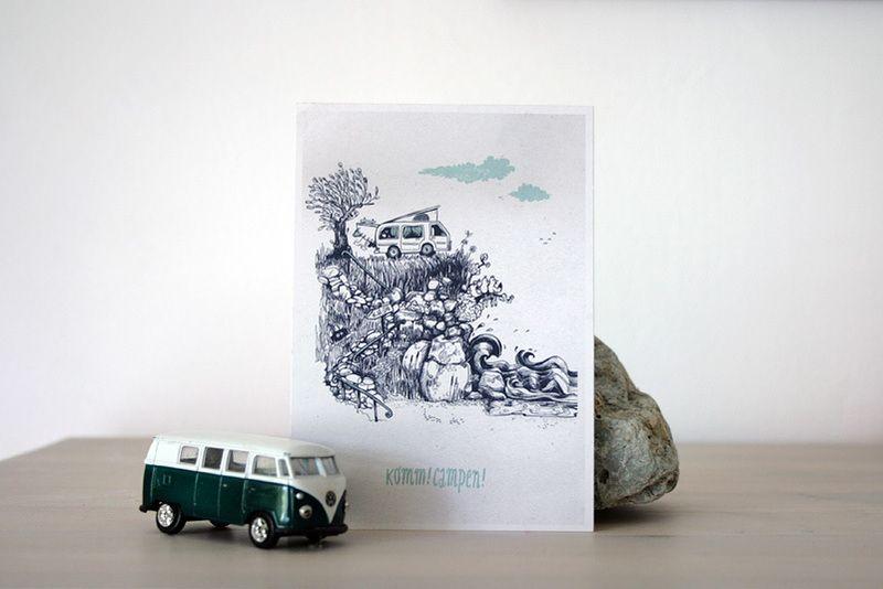 Schöne Postkarte mit Campingbus - Komm! Campen! von Diana Koehne | Illustrated Stuff auf DaWanda.com