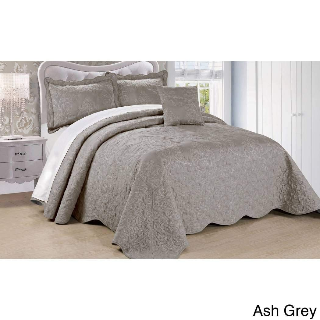 Dh 4 Piece 120 X 120 Grey Oversized Damask Bedspread King To The Floor Hangs Over Edge Gray Floral Bedding Dro Bed Spreads Bedspread Set Online Bedding Stores