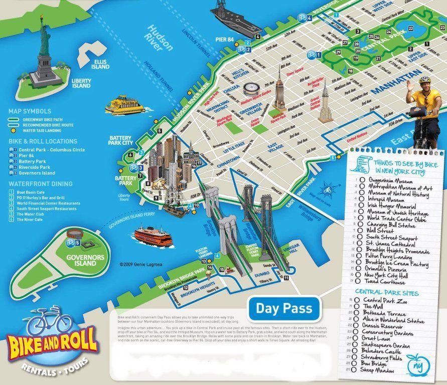 New York City Bike and Roll Map - New York City Vacations Inc., New Citi Bike New York Map on
