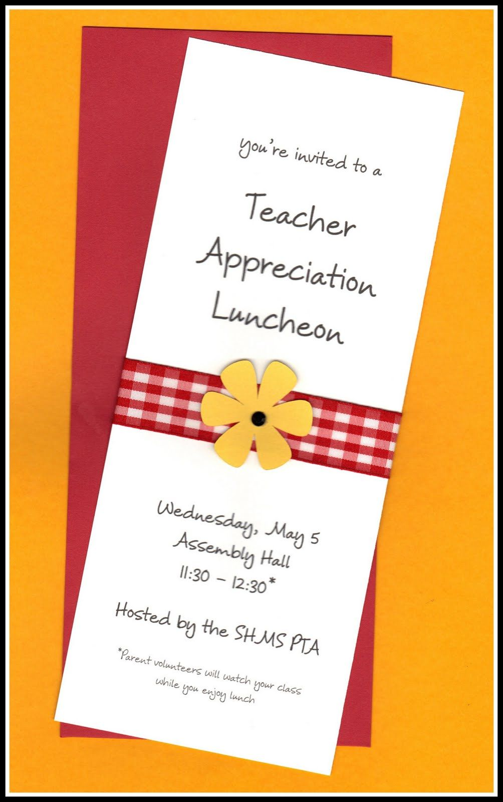 Teacher appreciation mikila carroll not sure who is over this but a lesson in fashion for teachers or lunchtime showings at schools appreciation luncheon invitation stopboris Images