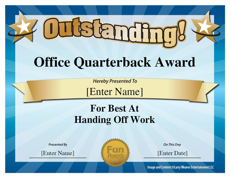 Office quarterback award office pinterest employee for Funny certificates for employees templates