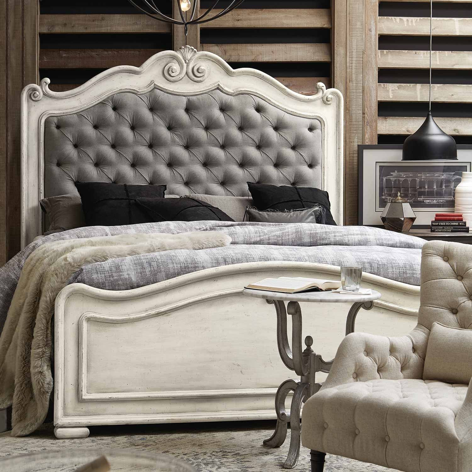 The Arabella Wood & Fabric Upholstered Panel Bed in White