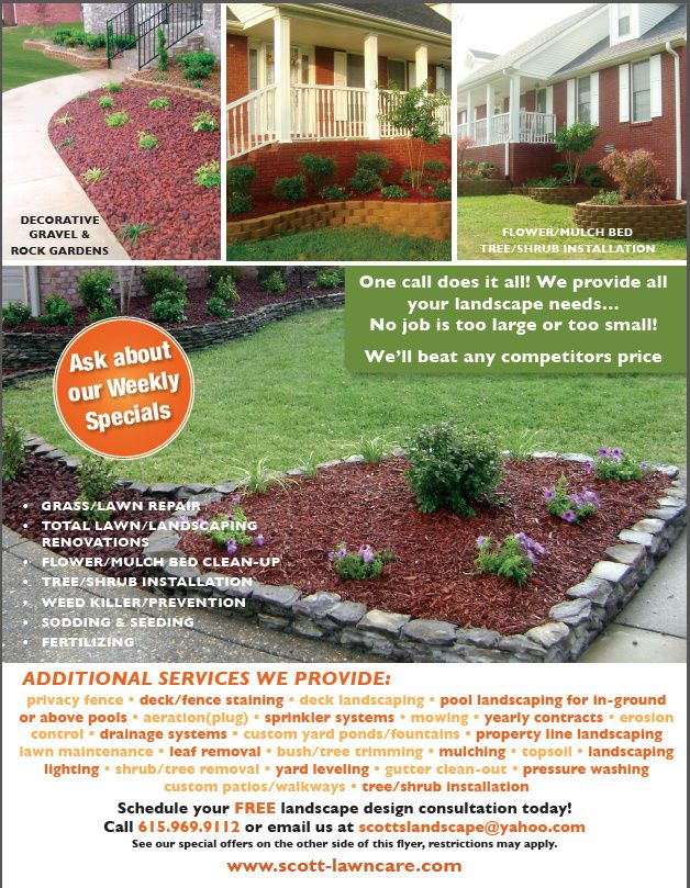 flyers for landscapers | Scott's Landscaping Lawn Care promo too ...