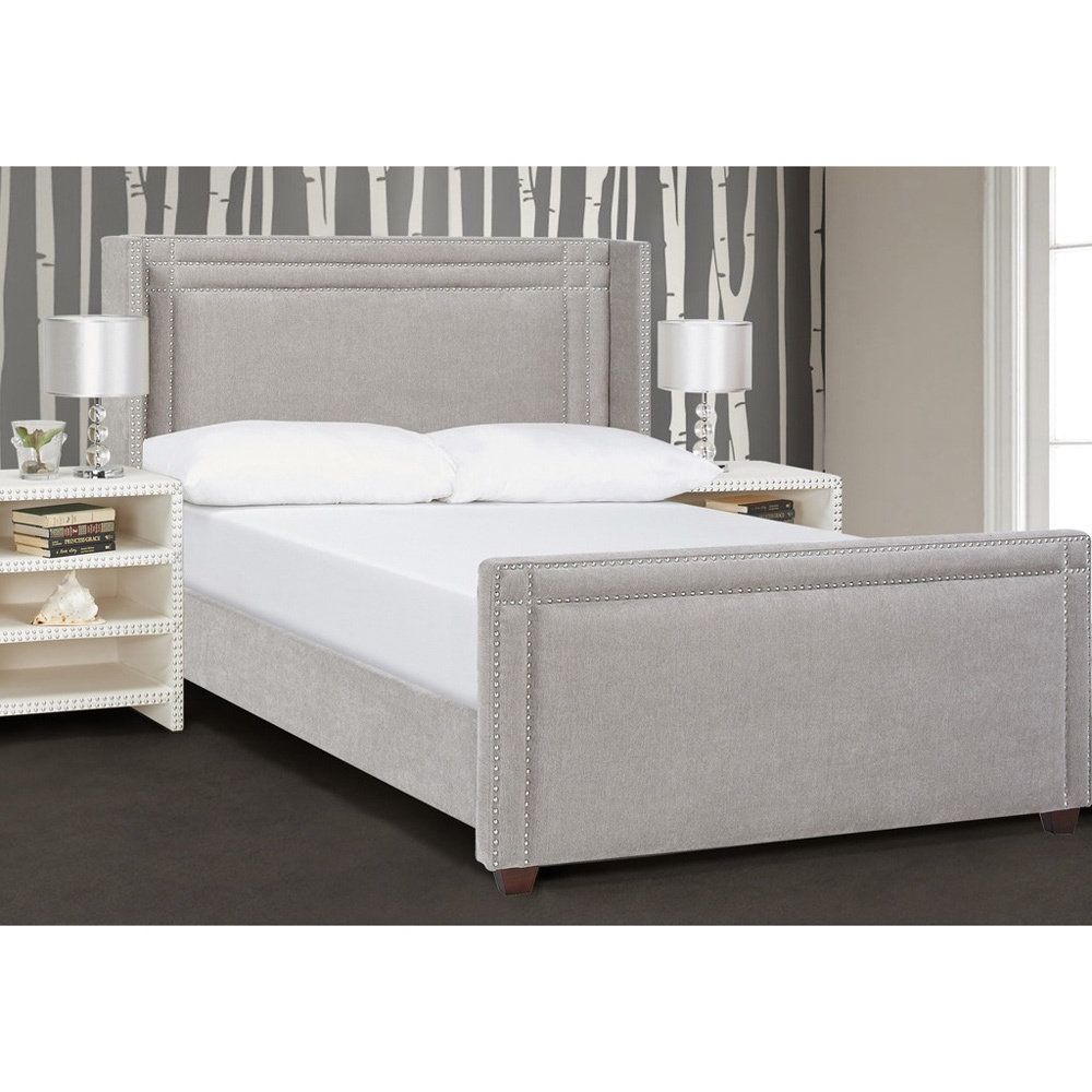 jennifer taylor elle wingback upholstered bed bedroom makeover